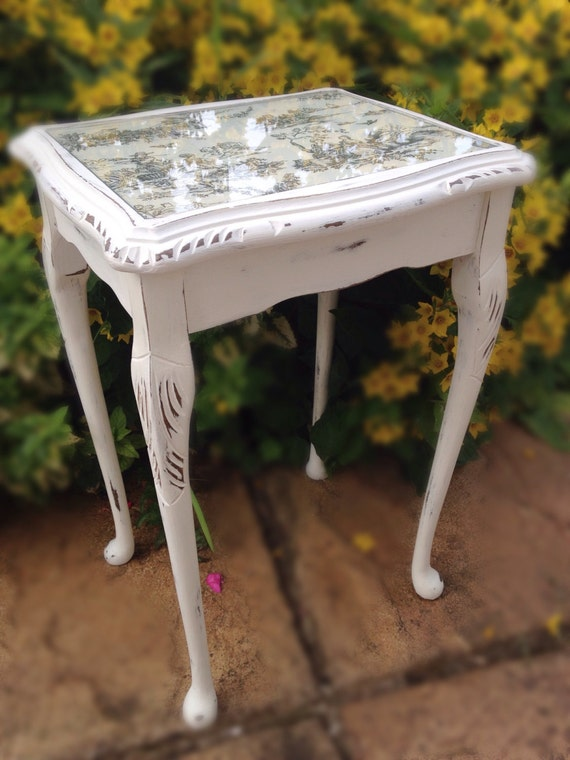 Vintage Side Table Upcycled Shabby Chic With Cabriole Legs