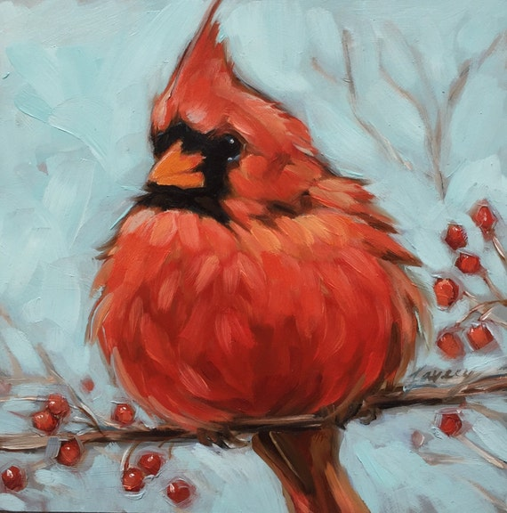 Oil And Acrylic Paintings Of Red Cardinals