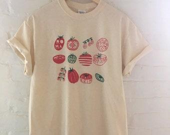 Tomato T-Shirt, Food Shirt, Vegetable Shirt, Garden Shirt, Screen Printed T Shirt, Clothing Gift, Foodie Gift