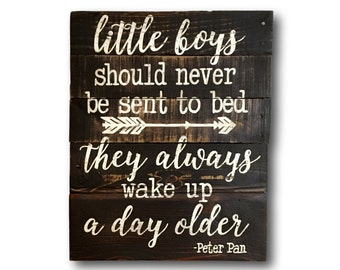 Little Boys Should Never Be Sent To Bed Sign/ Wood Peter Pan Sign/ Rustic Nursery Decor