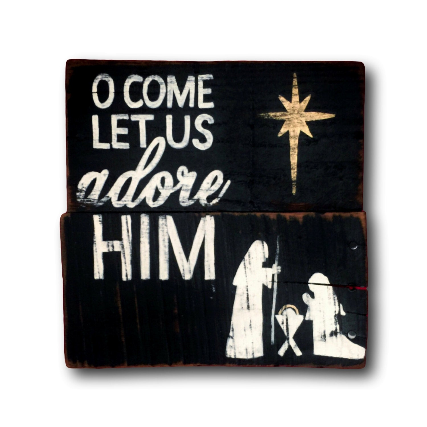 Oh Come Let Us Adore Him Wood Signs Christmas Signs Wood: O Come Let Us Adore Him Sign / Christmas Decoration / Rustic
