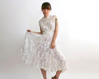50's Short Lace wedding Dress,  White & Cream Bridal Dress, Bodice Dress / Size XS-Small