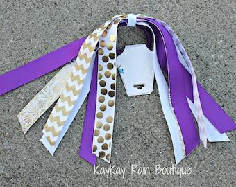 Purple And Gold Ponytail Streamer - Ponytail Ribbons - Ponytail Holder Ribbons - Ponytail Streamer Ribbons - Cheer Ribbons - Purple - Gold