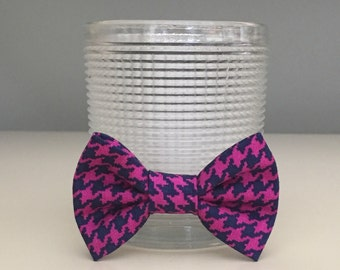 Tiny Dog Bow / Bow Tie - Fuchsia Navy Houndstooth