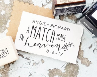 Wedding Matchbox Stamp, Matchbox Wedding Favor, Custom Rubber Stamp, The Perfect Match, Personalized Matches, Wedding Favor Stamp CS-10292
