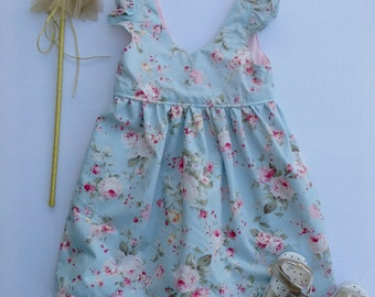 Daisy Blue Floral Girl Tea Party Dress, Girl, Toddler