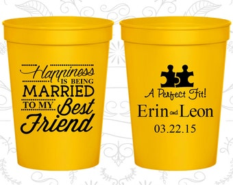 Happiness is Being Married to my Best Friend (C512) Custom Wedding Cups, A Perfect Fit, Puzzle, Romantic Wedding Cups, Logo cups