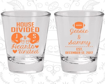 House Divided, Hearts United, Personalized Glass, Football Wedding Shot Glasses, Sports Wedding Shot Glasses, Wedding Shot Glass (395)