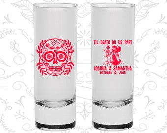 Till Death Do Us Part, Promotional Shooter Glasses, Sugar Skull Shooters, Day of the Dead Shooters, Candy Skull Shooters (597)