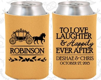 Love Laughter Happily Ever After, Wedding Reception, Princess Carriage, Fairy Tale Wedding, Wedding Can Holders (443)