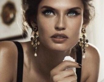 Italian Designer Inspired - Baroque - Large Ornate Gold Byzantine Cross Statement Earrings Large Gold Filigre Cross Earrings