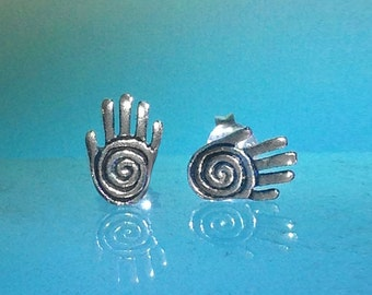 925 Solid Sterling Silver Shaman's Hand Earrings-Healer's Hand-Spiral on the palm-Studs-Oxidized