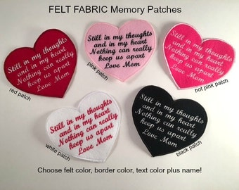 FELT Memory Patch - Sew On - FREE SHIPPING - Still in My Thoughts, Heart Shaped, In Memory Of, Shirt Pillow Patches, Memory Patches
