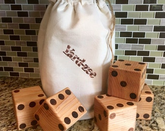 Giant Yard Dice Yard-zee! Plus Instruction Sheet and 4 Reusable Score Cards