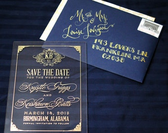 Acrylic Wedding Invitations Gold and Navy Blue Set Of 100 Save The Date London
