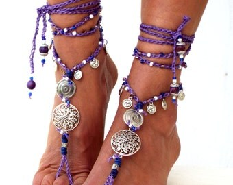 "Purple Sunset"" Barefoot Sandals, Barefoot Beach Jewelry, gemstones barefoot, Hippie Sandals, Foot Jewelry, Toe Thong, festival accessories,"