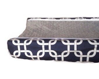 Navy gotcha, grey minky dot changing pad cover
