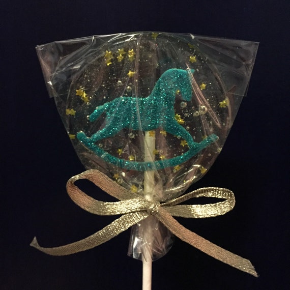 3 Natural Cherry Flavored Glittered Marzipan Rocking Horse Lollipops