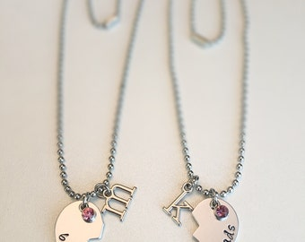 Best Friend Half Heart Necklace Sets Personalized with Initials & Birthstones