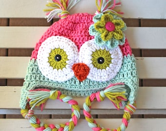 Owl Hat, Crochet Owl Hat, Kids Hat, Baby Owl Hat, Girl Owl Hat, Children Hats, Toddler Hats, Girl Hats, Crochet Hats, Animal Hats