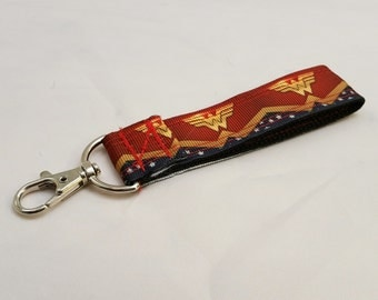 Wonder Woman Pattern Keychain Key Fob Lanyard