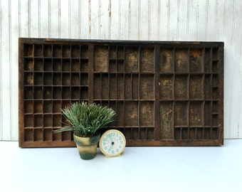 Vintage Printer's Tray, Shadow Box,  Antique Letter Tray