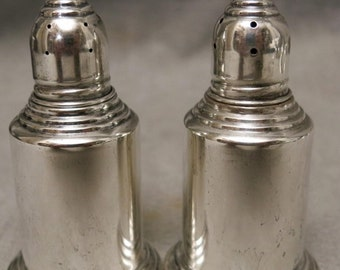 Pair of weighted EMPIRE STERLING SILVER Salt and Pepper Shakers