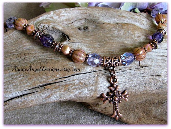 Faith Bracelet, Christian Jewelry, Devotional Jewelry, Catholic Bracelets, Religious Bracelets, Copper Cross Bracelet, Crucifix Jewelry