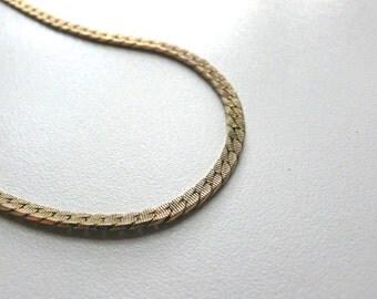 Vintage Monet Gold Tone Herringbone Chain Necklace | 24 in