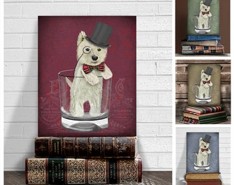 Westie dog gift - Westie print in Whisky Tumbler west highland terrier westie owner westie gift west highland terrier gift scottish dog art