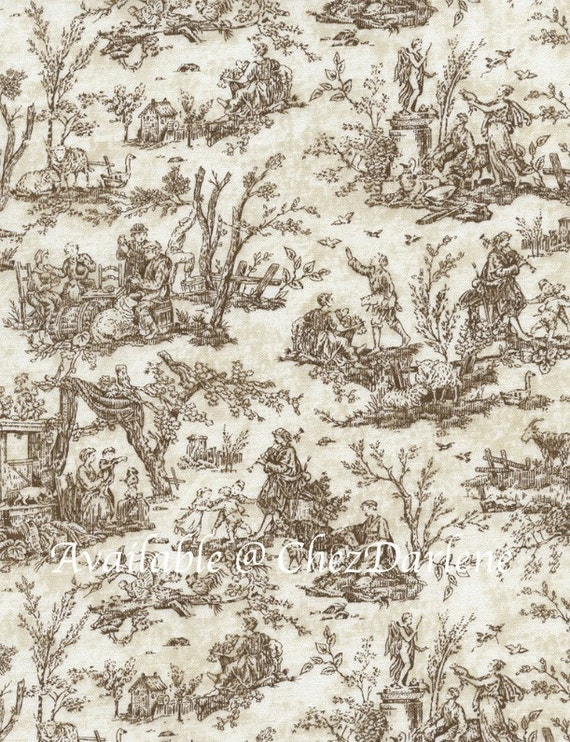 cotton fabric scenic toile brown toile quilt quality. Black Bedroom Furniture Sets. Home Design Ideas