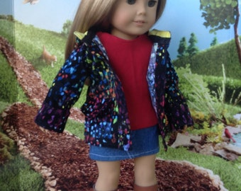 18 inch Doll Clothes, Girl Doll Clothes, Multi Colored Hooded Corduroy Coat, fits 18 inch dolls such as American girl dolls