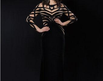 Black velvet evening dress, Long formal dress from plush, Black cocktail dress with handmade stripes, Goth long evening gown in black velvet