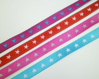 "1 m Woven Ribbon ""Little Star"" 7 mm Design Farbenmix"