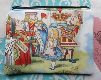 Handmade Makeup Bag Rare Alice In Wonderland Queen Of Hearts Cotton Fabric Laura Ashley Red Gingham Cosmetic Pencil Case Pouch Padded Lined