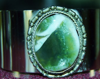 Silver cuff green stone bracelet