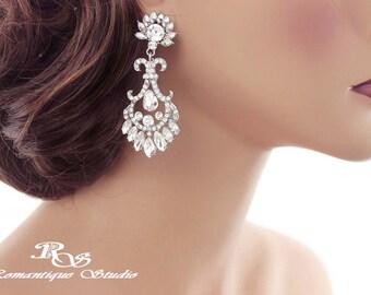 Crystal bridal earrings Art Deco wedding earrings vintage style rhinestone earrings chandelier earrings statement earrings -1260