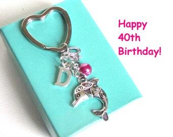 40th birthday gift - Dolphin keychain - Personalised 40th keyring - 40th keychain - Dolphin keyring with pearl - Initial keyring - Etsy UK
