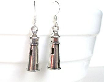 Lighthouse charm earrings - Nautical gift - Lighthouse earrings - Nautical earrings - Beach jewellery - Stocking filler - Etsy UK