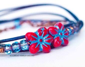 Bohemian Bracelet, Boho Wrap Bracelet, Blue Red Flower 3x Leather Wrap Bracelet (6-7 inch)