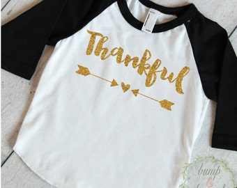 Kids Thanksgiving Shirt Toddler Girl Thanksgiving Outfit Thankful Shirt Thanksgiving Clothes for Kids Children's Thanksgiving Shirt 009