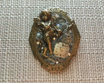 Antique Victorian Clock Collage Brooch
