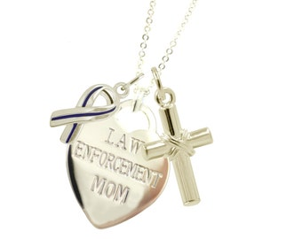 Silver Police Mom Serenity Necklace - (Free Shipping)