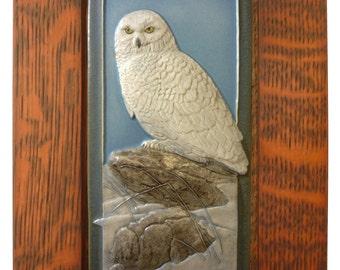 "Framed art tile, ""Snowy Owl"", 4 x 8 inches (tile), 7 x 11 inches (frame)"