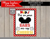 INSTANT DOWNLOAD Printable Mouse 8x10 Kids Put on Your Ears and Say Cheers Party Sign / Classic Mouse Collection / Item #1580