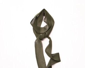 olive skinny scarf silk chiffon