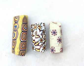 3PCS-African antique Venetian millefiori glass trade beads