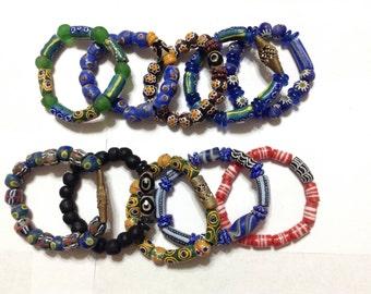 Set of 10 African Ghana Trade Beads glass handmade bracelets