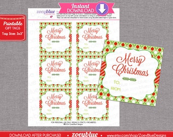 Christmas Gift Tags - Blank Christmas Hang Tags Gift Tags Red & Green Ornaments Christmas Merry - INSTANT DOWNLOAD Printable Digital File