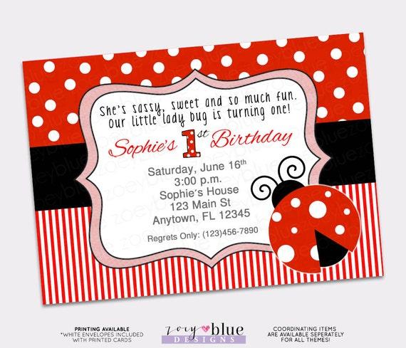 Ladybug Birthday Invitation 1st First Birthday Invitation Lady